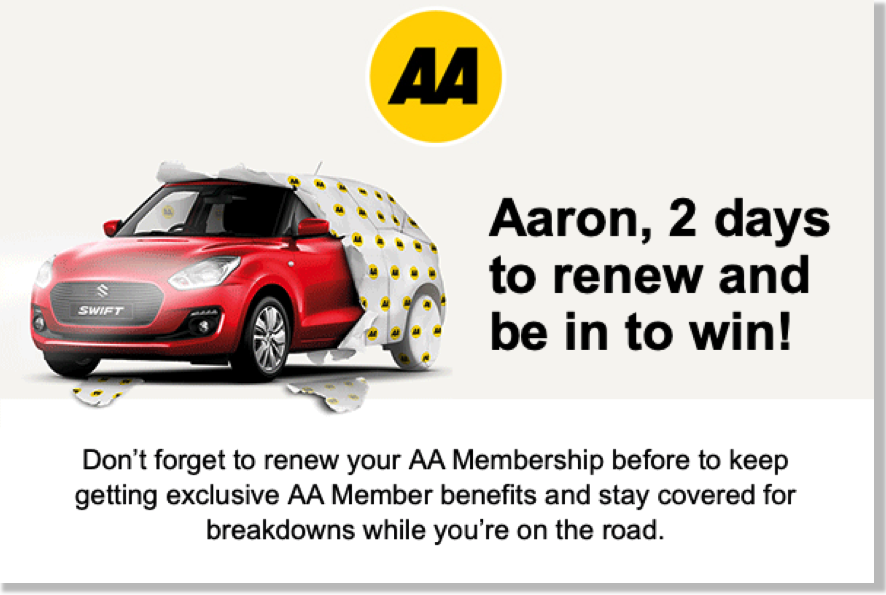 AA Personalisation image